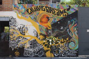 Living Dreams street mural by Misael inn Puero Vallarta features a bird in the centre