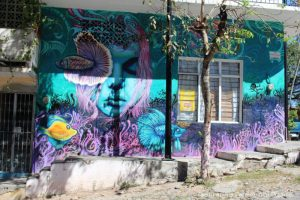 Blue and pink street mural of girl and coral reefs. By Misael Lopez in Puerto Vallarta