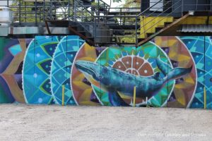 Puerto Vallarta street art: blue whale inside several colourful concentric circles