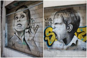Puerto Vallarta street art: two murals in black and white, one of an angry boy shouting, one of a boy with hand to ear to listen