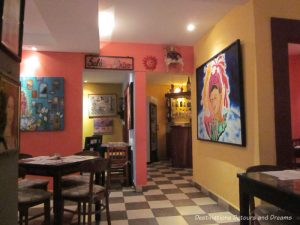 Bright decor of The Red Cabbage Cafe in Puerto Vallarta, Mexico