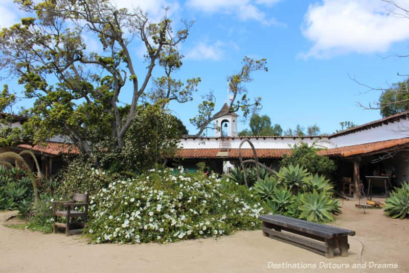 Courtyard of La Casa de Estudillo historic adobe house in Old Town San Diego