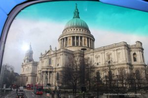 View from upper level of double-decker bus in London