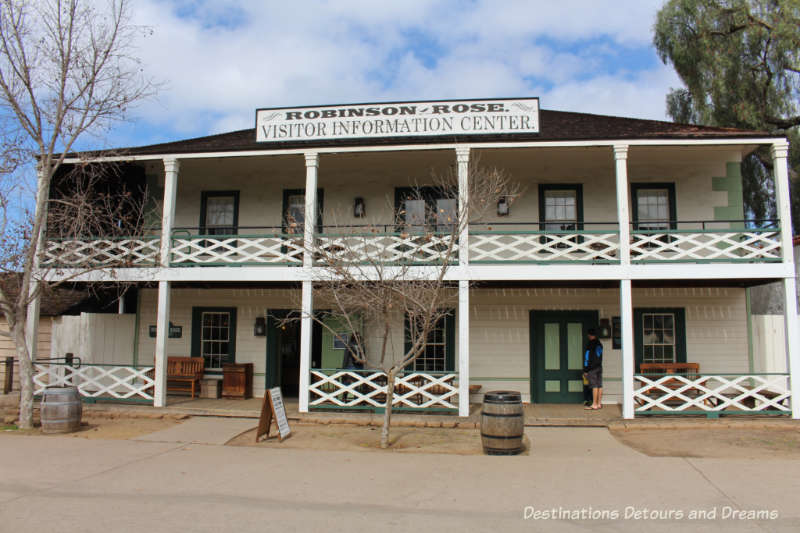 Two-storey reconstructed 1853 Robinson Rose House that now serves as Old Town San Diego State Park Visitors Center