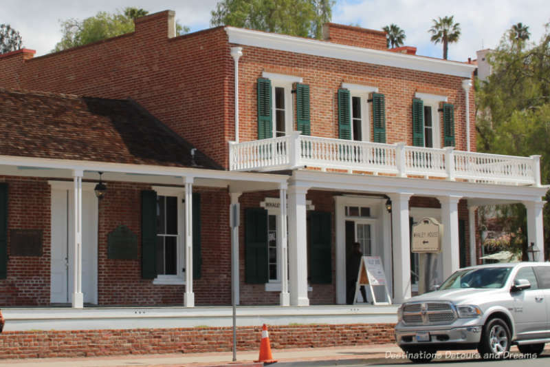 The front of the Whaley House, built in 1857 in Old Town San Diego