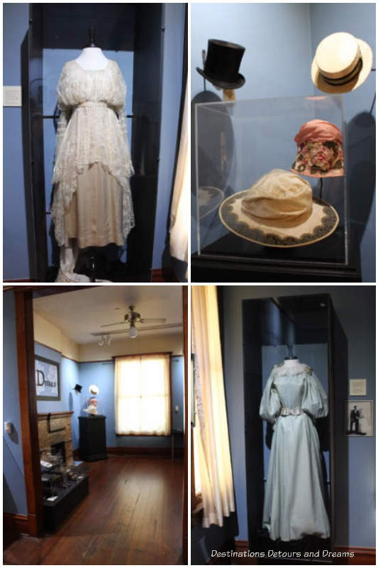 An exhibit of Victorian clothing inside the Stevens-Hausten Building