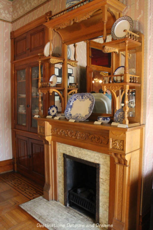 Original fireplace and mantel in dining room in Rosson House, Phoenix