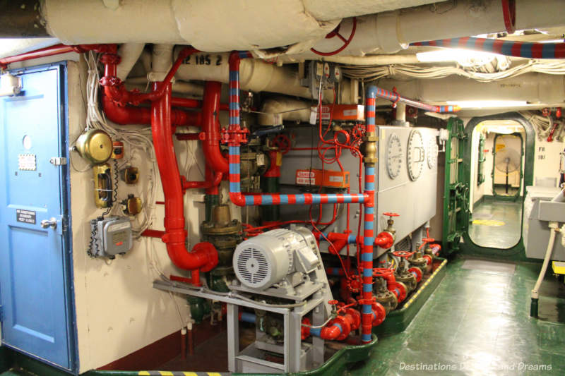 Equipment and hallway Below deck in USS Midway Museum in San Diego