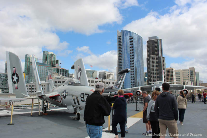 Plans on USS Midway Flight Deck with San Diego downtown in background