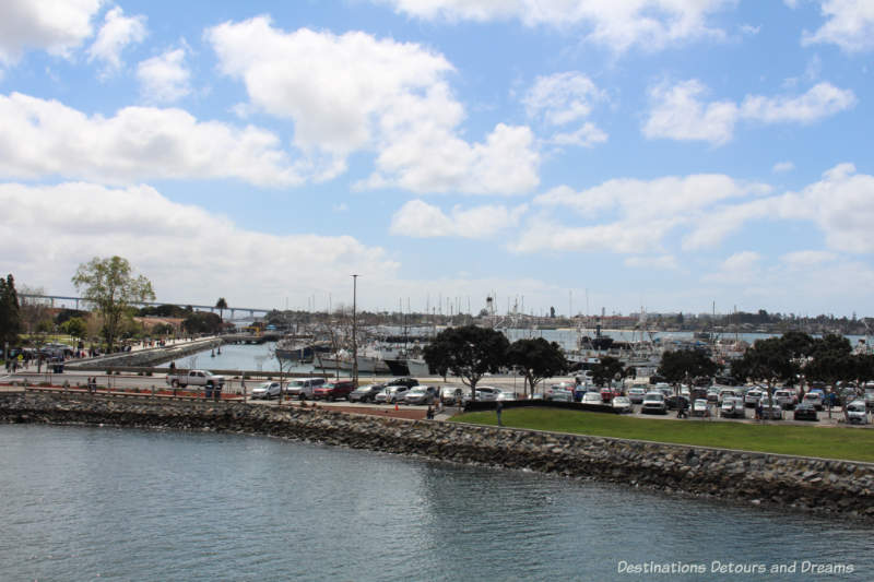 View of San Diego Harbor from USS Midway Museum Flight Deck