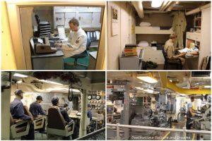 Scenes of men working Below Deck on USS Midway