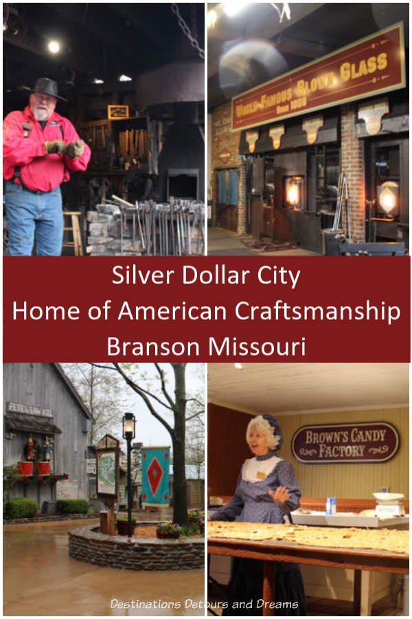 "Silver Dollar City theme park in Branson, Missouri is ""The Home of American Craftsmanship"" with over 100 resident craftsmen demonstrating their crafts. #Missouri #craftsmen #crafts #Branson #heritage"
