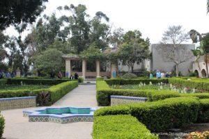 Tilework and pergola in Balboa Park Alcazar Garden