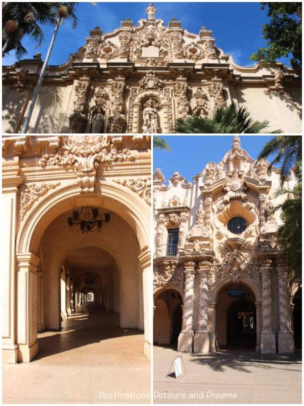 Casa del Prado architectural features,Balboa Park, San Diego, California