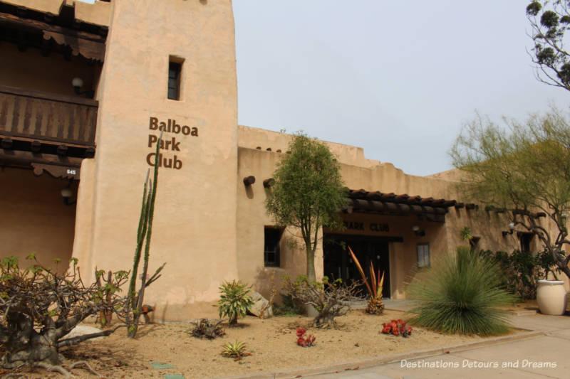 adobe style Balboa Park Club in San Diego