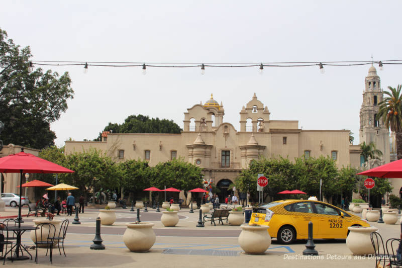 Balboa Park central plaza with Mingei International Museum in the background