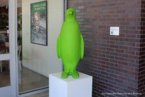Green penguin is the symbol of Bentonville's 21c Museum Hotel