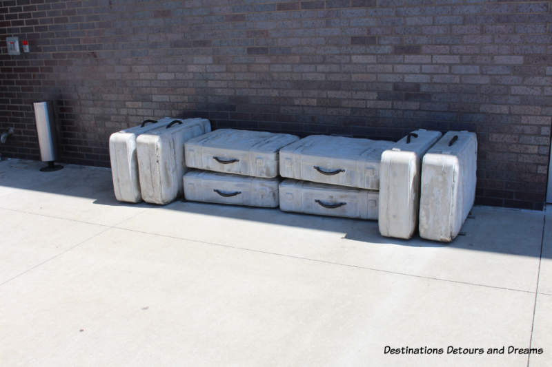 Luggage art installation outside 21c Museum Hotel in Bentonville, Arkansas