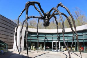 Maman, a spider-like sculpture, in the Crystal Bridges Museum of American Art courtyard
