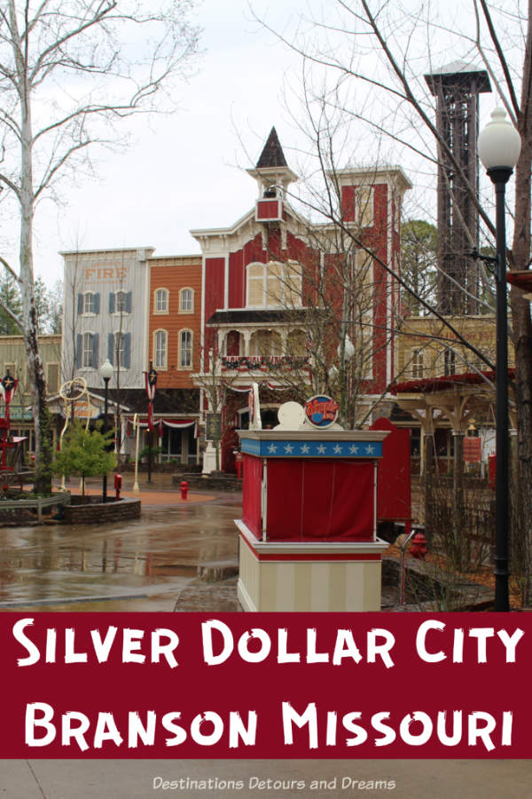 Silver Dollar City in Branson, Missouri is an 1880s style them park with historical buildings in an Ozark mountain village setting, amusement park rides, and craftsmen demonstrating heritage crafts. #Branson #Missouri #themepark #heritage #craftsmen