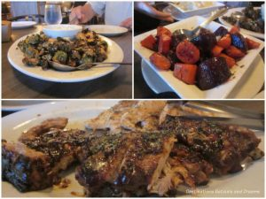Brussel sprouts, beets and carrots, chicken and ribs at Saddlery on Market restaurant in Winnipeg