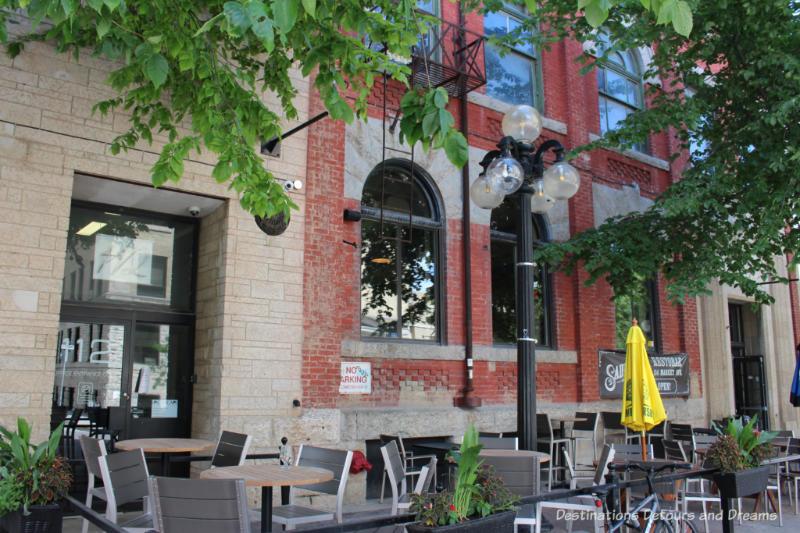 Restaurant patio in Winnipeg's historic Exchange District