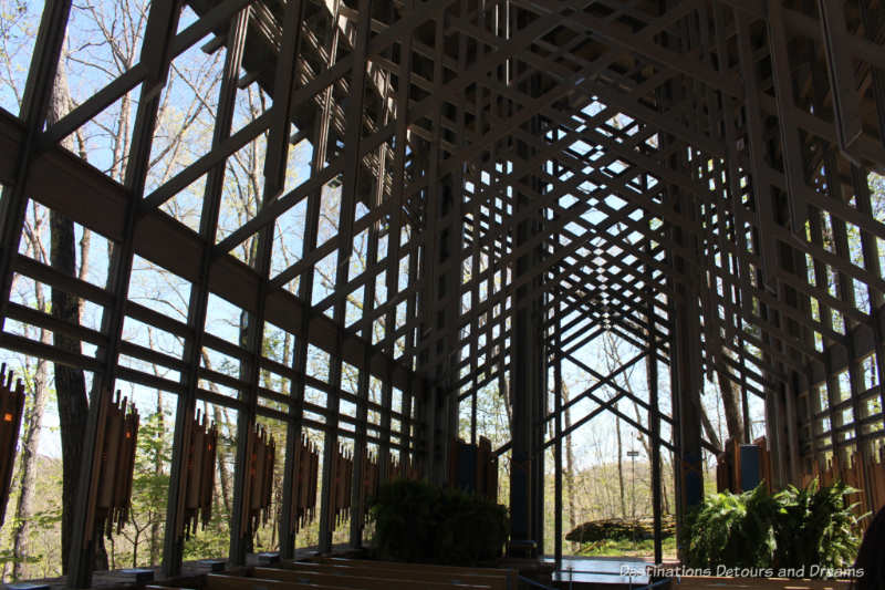 Windows of Thorncrown Chapel look into the woods