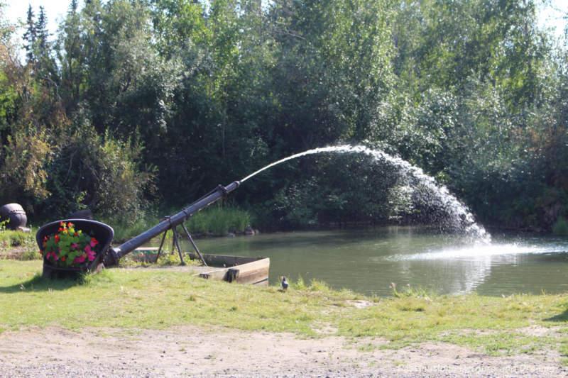 Gold dredge water cannon in Pioneer Park, Fairbanks, Alaska