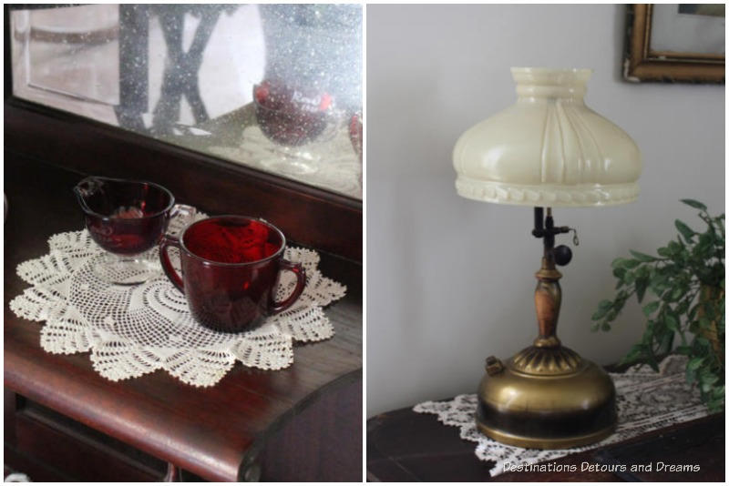 Nellie McClung cream and sugar dishes and lamp