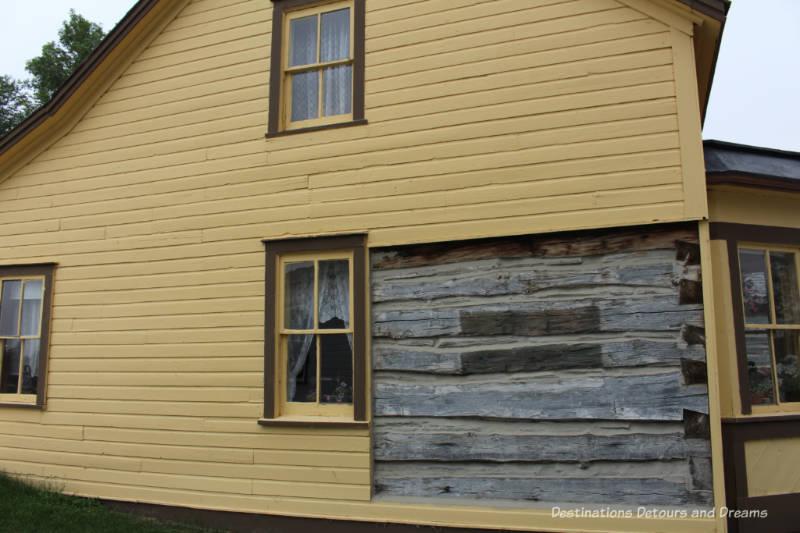 Wood frame over log construction at Hazel Cottage
