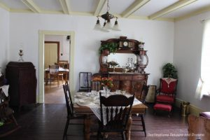 Dining room of Nellie McClung house at museum in Manitou, Manitoba