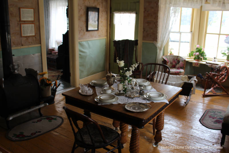 Hazel Cottage dining room, Nellie McClung Heritage Site in Manitou, Manitoba
