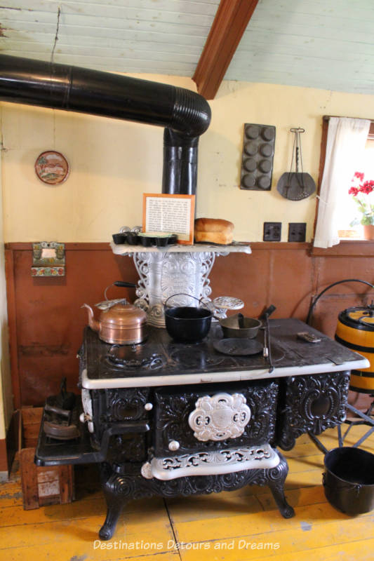 Cast iron stove in Hazel Cottage at Nellie McClung Heritage Site