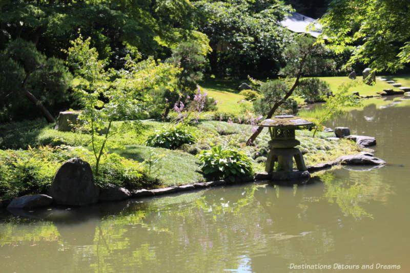 Snow viewing lantern on Island of Eternity at Nitobe Memorial Garden