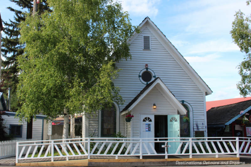 This white wood church, now in Pioneer Parks, was the first church in Fairbanks, Alaska