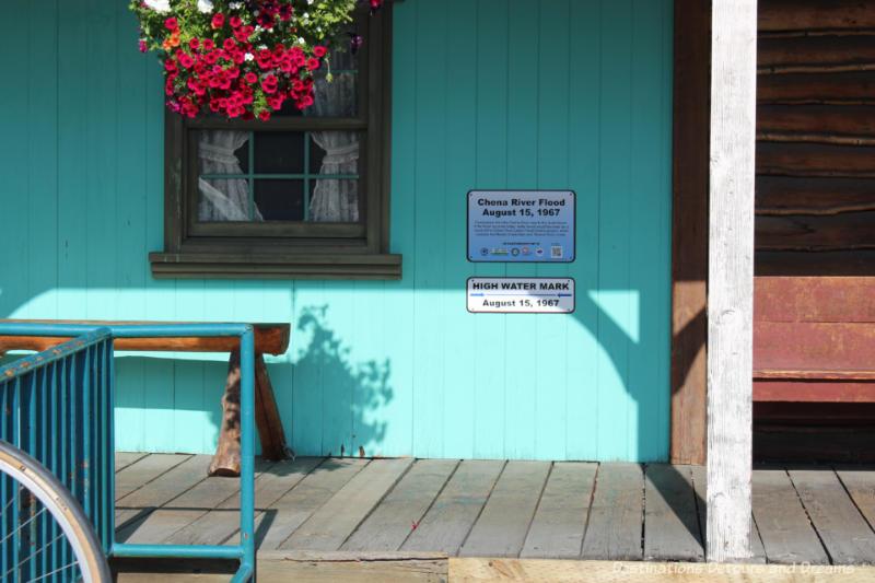 Sign on building in Pioneer Park in Fairbanks, Alaska indicates 1967 flood level
