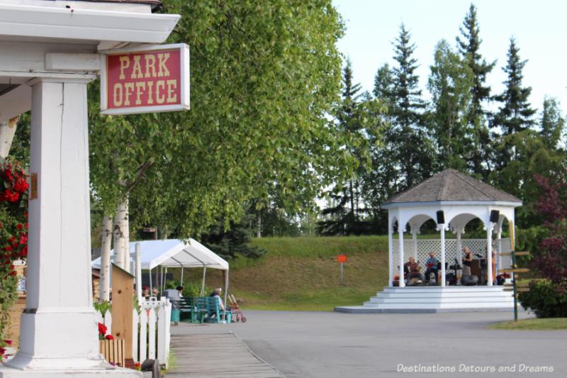 Evening concert in gazebo in Pioneer Park in Fairbanks, Alaska