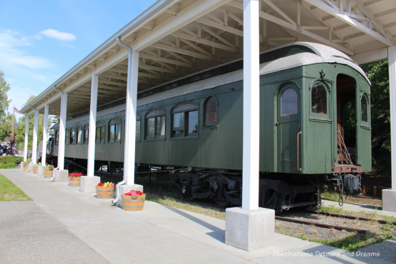 Harding Car railroad car on display in Pioneer Park in Fairbanks, Alaska