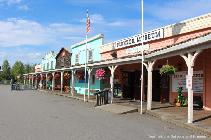 Street view of Gold Rush Town in Pioneer Park in Fairbanks, Alaska
