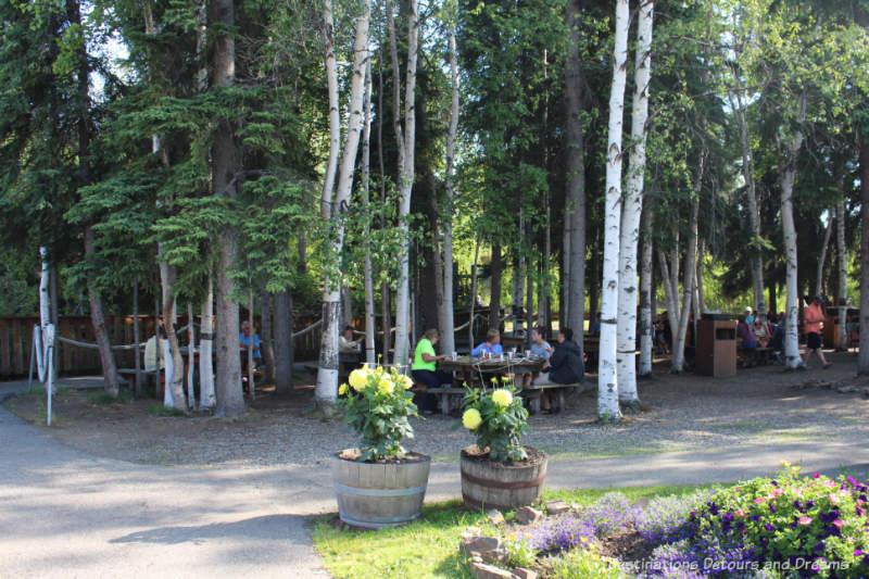 Shaded seating area for the Salmon Bake dinner in Pioneer Park in Fairbanks, Alaska