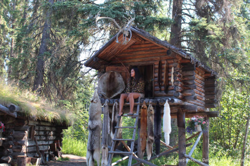 Athabascan cache house at Chena Village, Fairbanks, Alaska