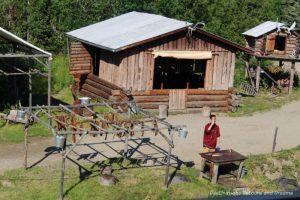 Salmon drying on racks at Chena Village in Fairbanks, Alaska