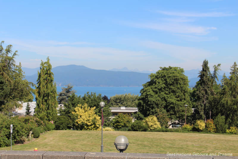 View of mountains and sea from UBC Rose Garden