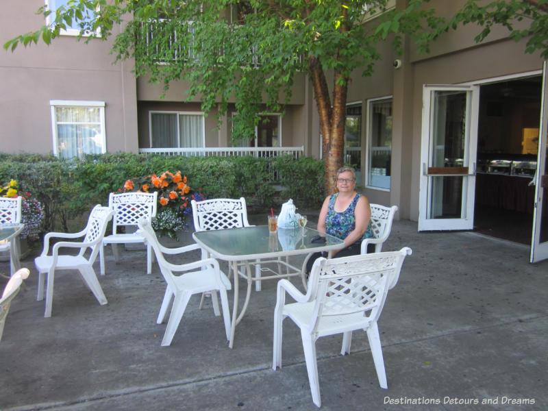 On the patio at Bear Lodge in Fairbanks, Alaska