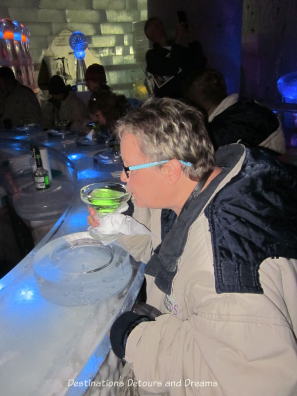Sipping an Appletini at Aurora Ice Museum, Chena Hot Springs Resort, Alaska