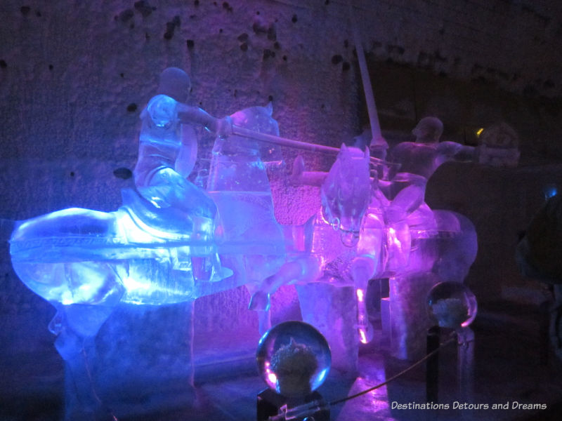 Jousters on horseback ice sculpture at Aurora Ice Museum at Chena Hot Springs Resort