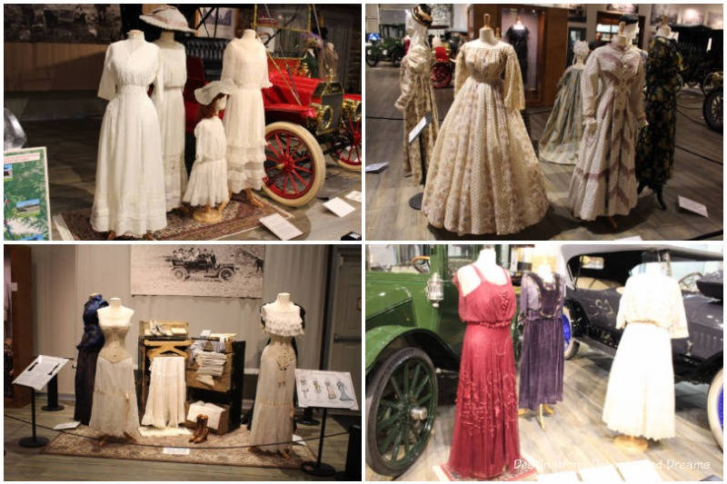 Some of the costumes on display at Fountainhead Antique Auto Museum