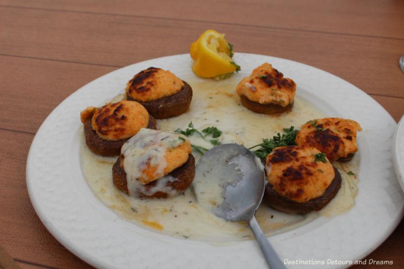 Alaska crab stuffed mushrooms at Pike's Landing in Fairbanks, Alaska