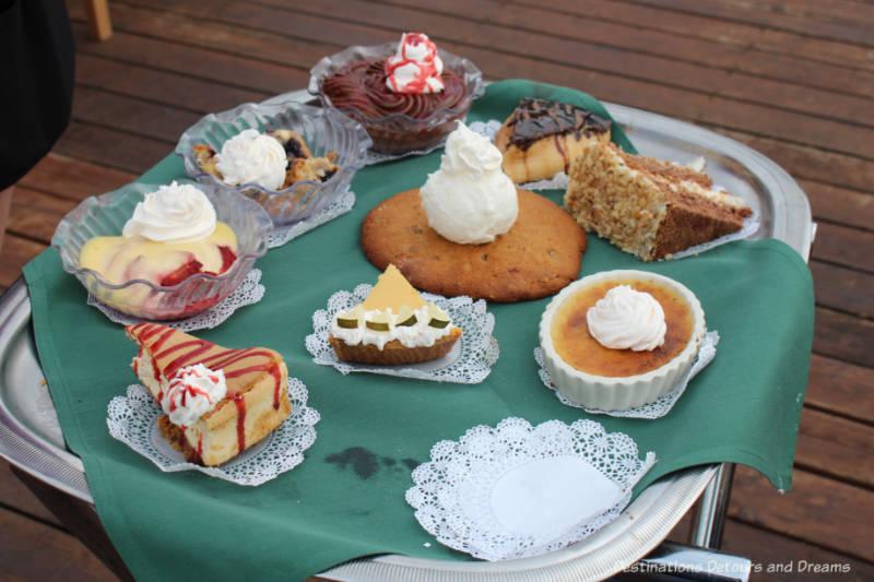 Dessert tray at Pike's Landing in Fairbanks, Alaska