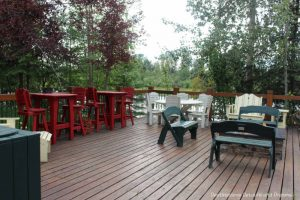 Riverside deck at Pike's Waterfront Lodge in Fairbanks, Alaska